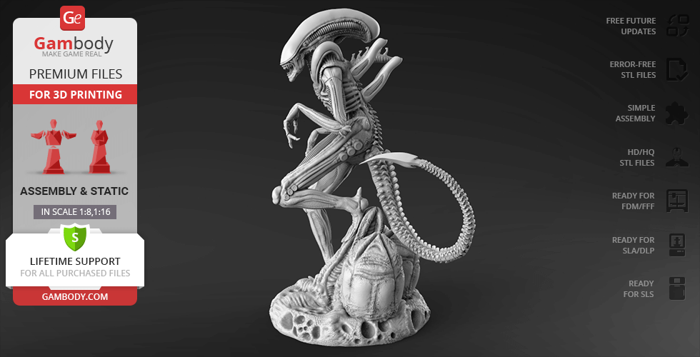 Buy Alien Xenomorph 3D Printing Figurine | Assembly