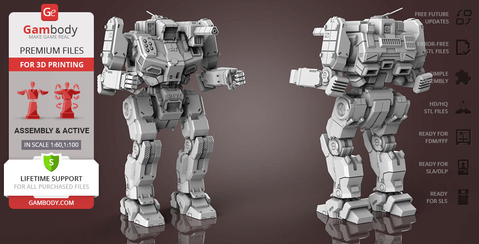 Buy MWO Shadow Hawk 3D Printing Model | Assembly + Action
