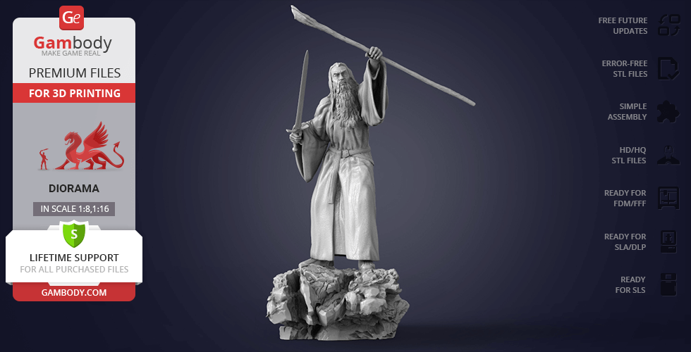Buy Gandalf the Grey 3D Printing Figurine in Diorama | Assembly