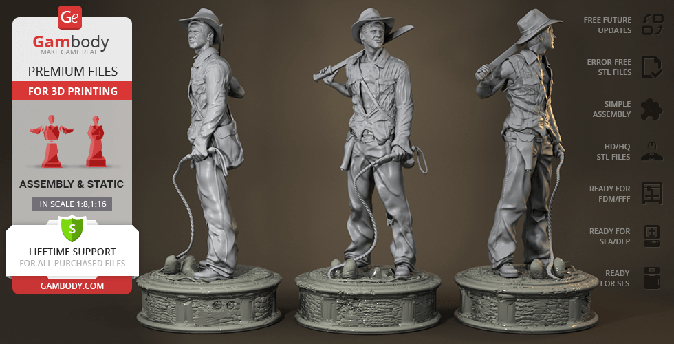 Buy Indiana Jones 3D Printing Figurine | Assembly