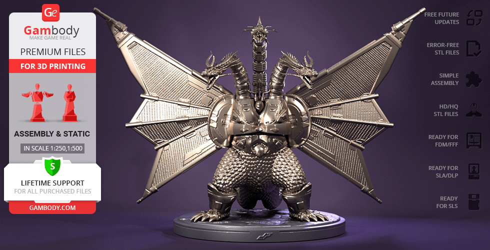 Buy Mecha-King Ghidorah 3D Printing Figurine | Assembly