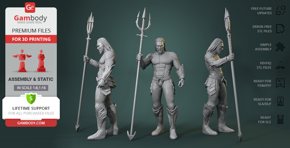 Buy Aquaman King of Atlantis 3D Printing Figurine | Assembly