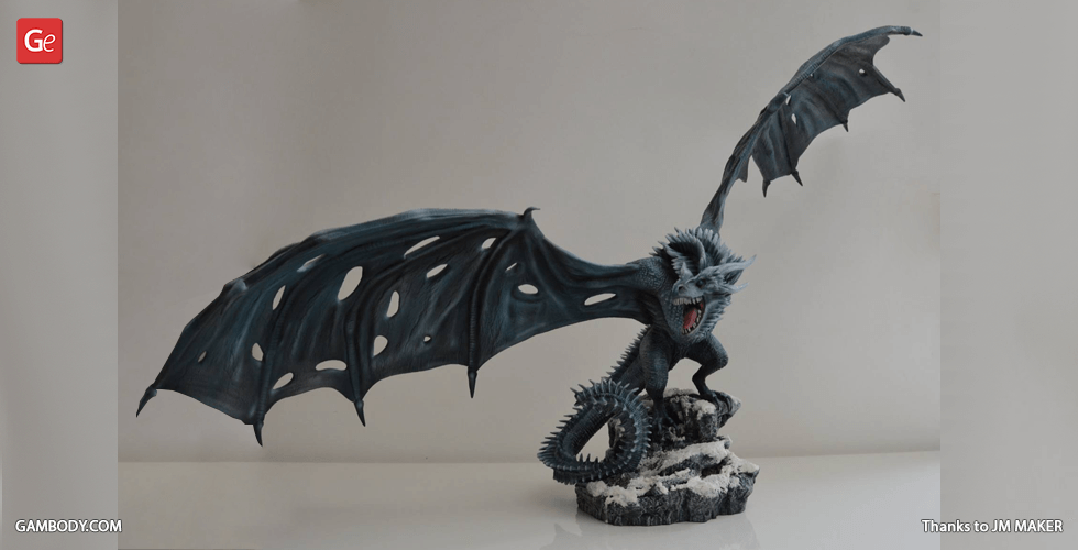 Buy Viserion Ice Dragon 3D Printing Figurine | Assembly