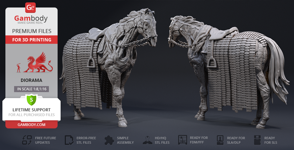 Buy Wight Horse 3D Printing Figurine | Assembly