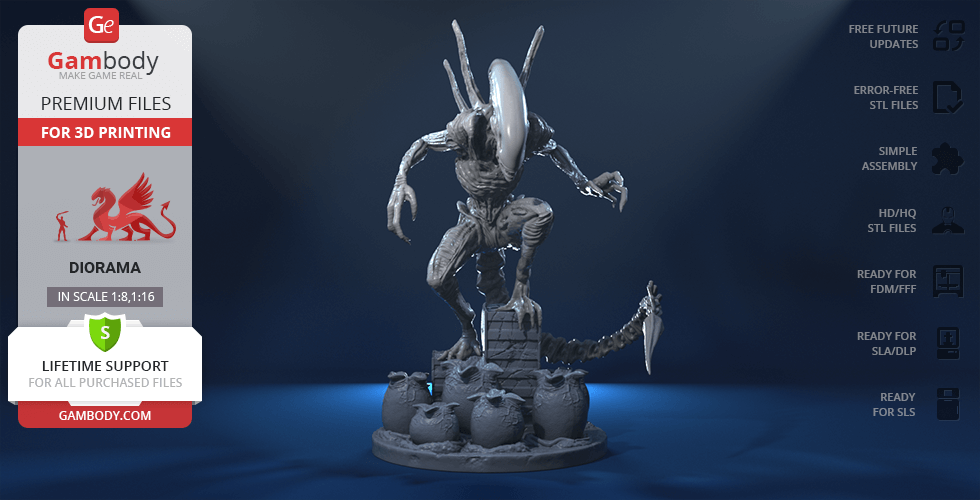 Buy Alien Xenomorph in Diorama for 3D printing | Assembly