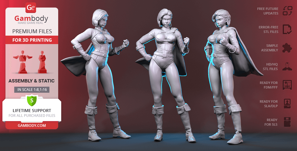 Buy Power Girl 3D Printing Figurine | Assembly