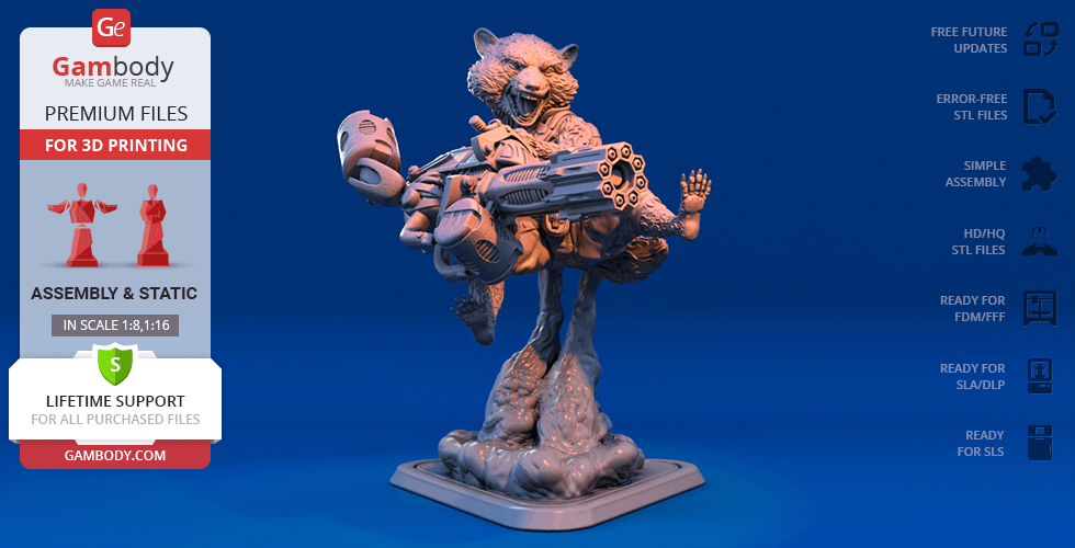 Buy Rocket Raccoon 3D Printing Figurine | Assembly