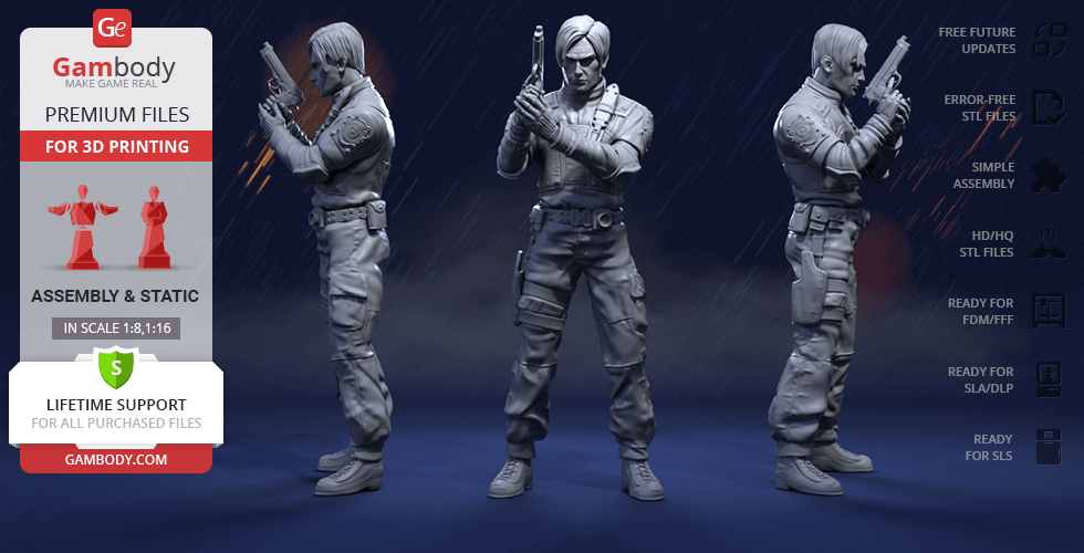 Buy Leon Kennedy 3D Printing Figurine | Assembly