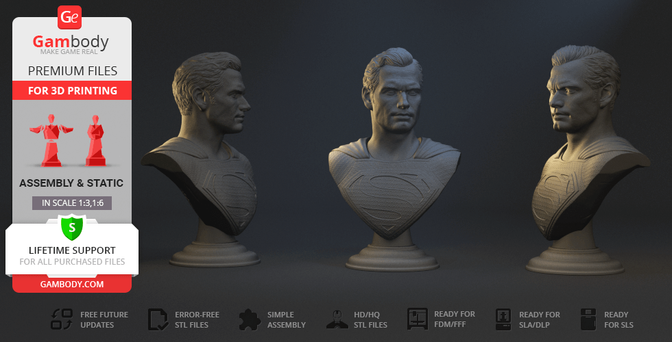 Buy Superman Bust 3D Printing Figurine | Assembly