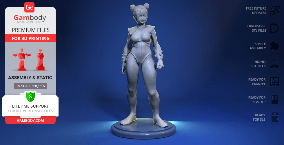 Buy Chun-Li 3D Printing Figurine | Assembly