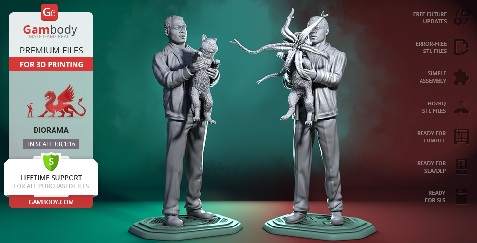 Buy Nick Fury & Cat 3D Printing Figurines in Diorama | Assembly