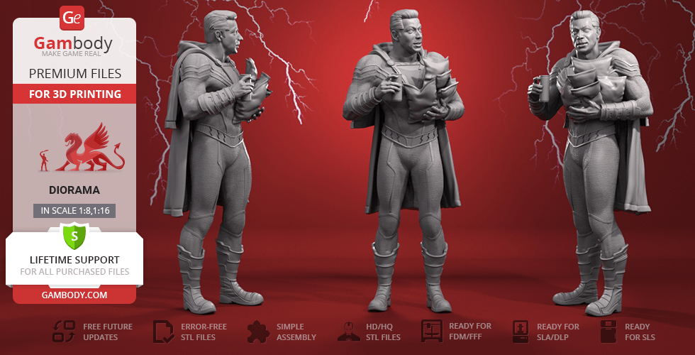 Buy Shazam 3D Printing Figurine | Assembly