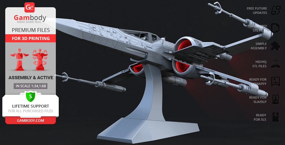 Buy T-70 X-Wing 3D Printing Model | Assembly