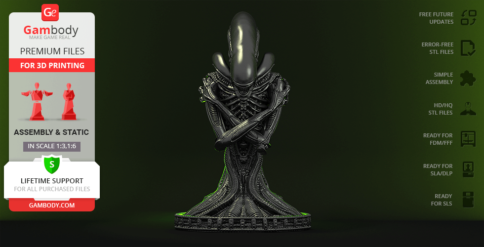 Buy Alien Xenomorph Bust 3D Printing Figurine | Assembly