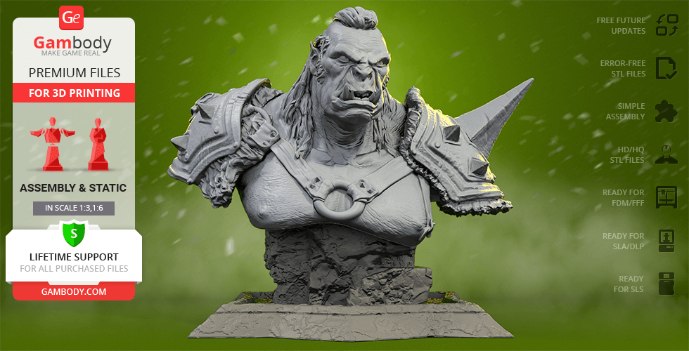 Buy Orc The Executioner Bust 3D Printing Figurine | Assembly