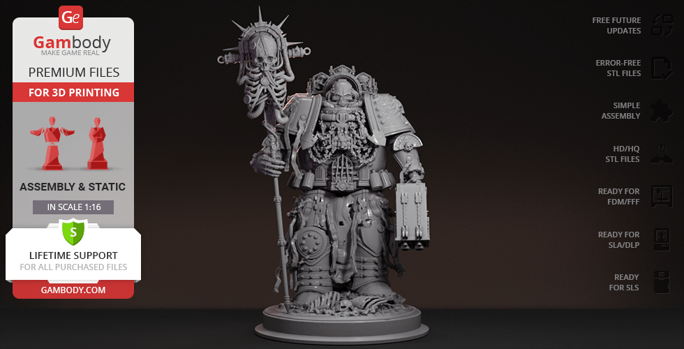 Chaplain 40k 3D Printing Figurine | Assembly