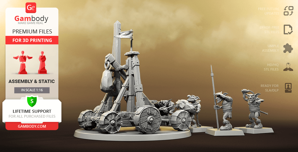 Buy Greenskins Catapult 3D Printing Miniatures | Assembly