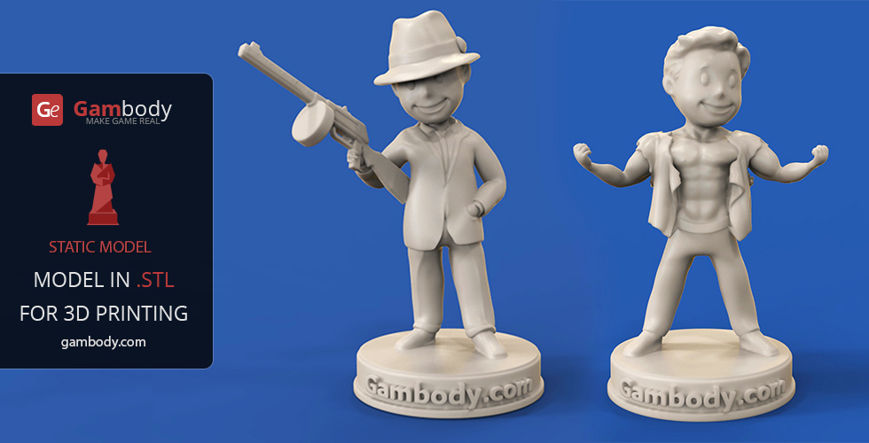 Buy Vault Boy: Adrenaline Rush + Gangster 3D Print Models  | Scale Figures