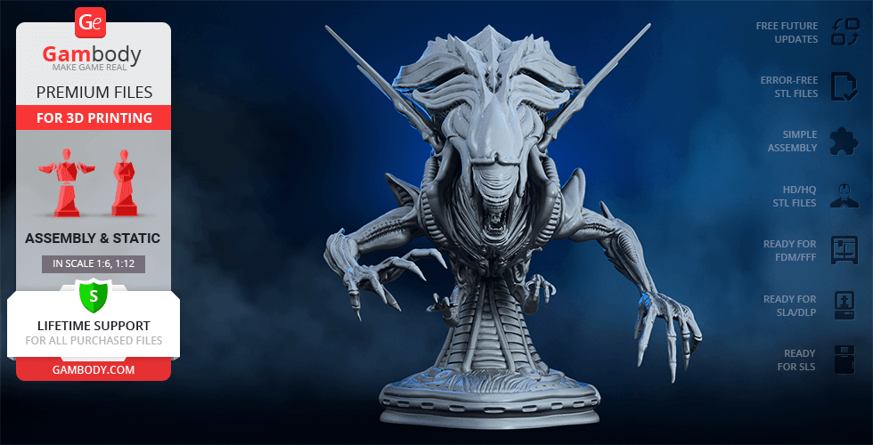 Buy Alien Queen Bust 3D Printing Figurine | Assembly