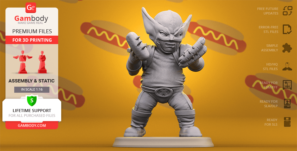 Buy Chubby Wolverine 3D Printing Figurine | Assembly
