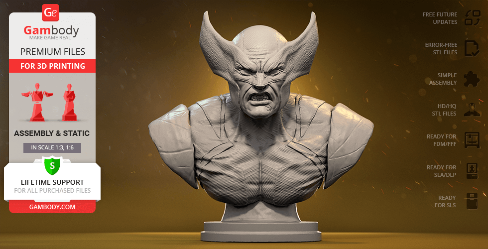 Buy Wolverine Bust 3D Printing Figurine | Assembly