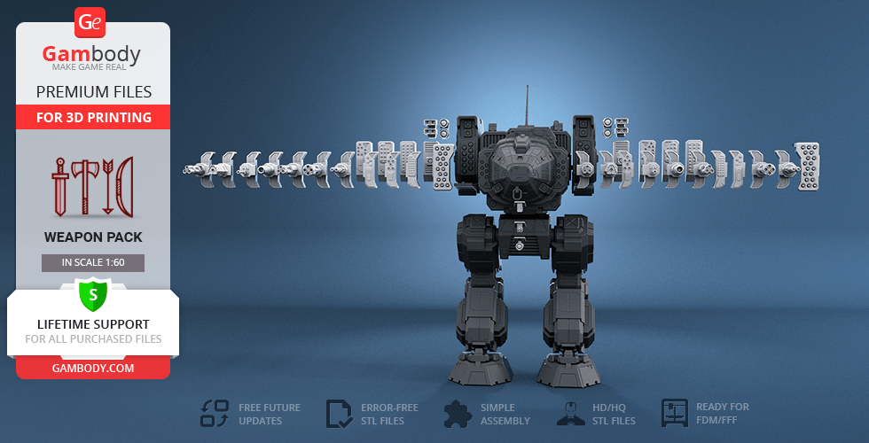 Buy MWO Stalker Weapon Pack for 3D Printing | Assembly