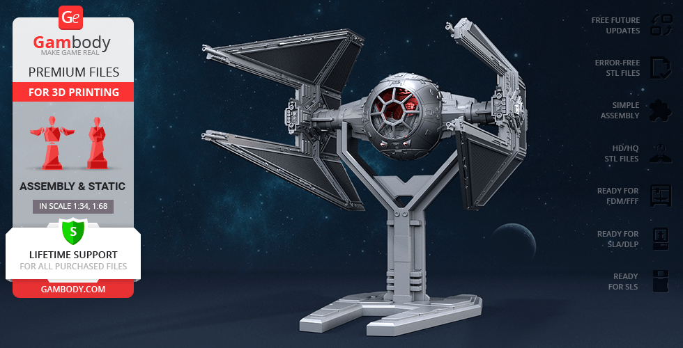 Buy TIE Interceptor 3D Printing Model | Assembly