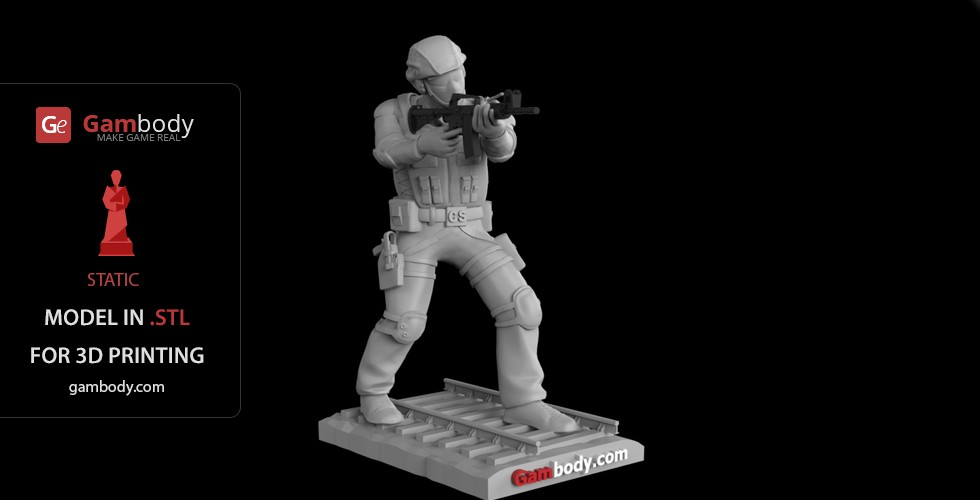 Buy Counter-Terrorist Soldier 3D Model | Static Figure