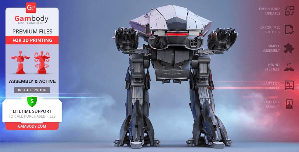 Buy ED-209 (2014) 3D Printing Model | Assembly + Action