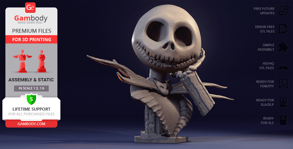 Buy Jack Skellington Bust 3D Printing Figurine | Assembly
