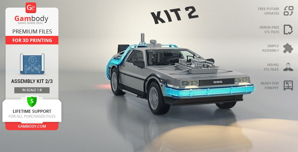 Buy DeLorean 3D Printing Model | Assembly Kit 2: Engines, Mr Fusion, Active Suspension